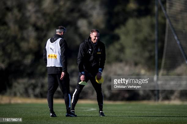 Head Coach Marco Rose and Assistant Coach Alexander Zickler of Borussia Moenchengladbach are seen during the Borussia Moenchengladbach Training Camp...