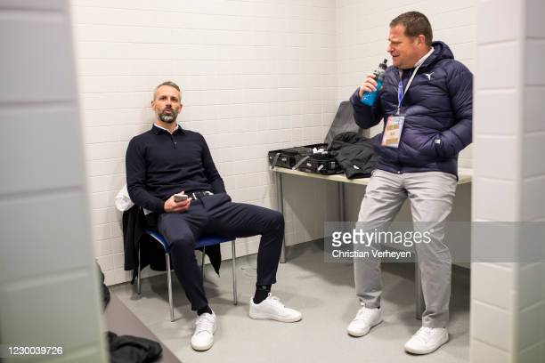 Head Coach Marco Rose and Director of Sport Max Eberl of Borussia Moenchengladbach are seen after the Group B - UEFA Champions League match between...