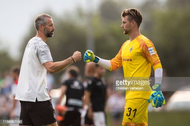 Head Coach Marco Rose and Max Gruen are seen after the friendly match between Borussia Moenchengladbach and Rayo Vallecano on July 20 2019 in...