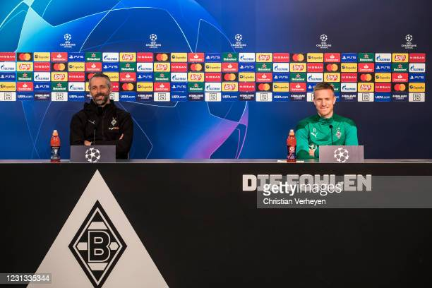 Head Coach Marco Rose and Oscar Wendt talk to the media during a press conference of Borussia Moenchengladbach ahead the UEFA Champions League Round...