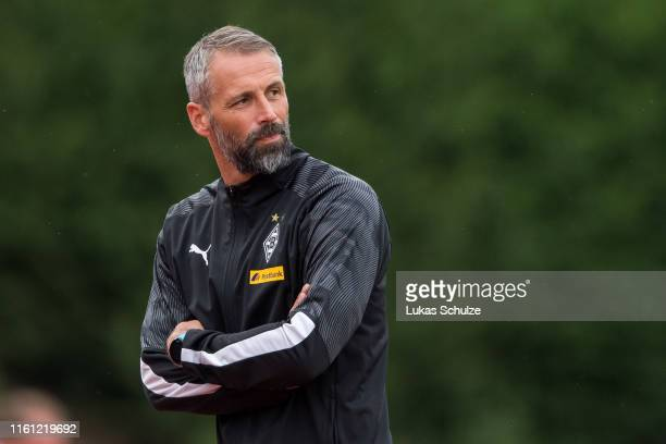 Head coach Marco Rose looks on during the pre-season friendly match between Borussia Moenchengladbach and 1. FC Moenchengladbach at Grenzlandstadion...