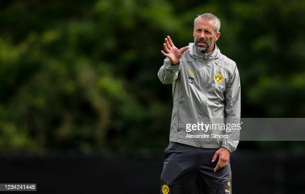 Head coach Marco Rose of Borussia Dortmund during a training session as part of the training camp on July 27, 2021 in Bad Ragaz, Switzerland.