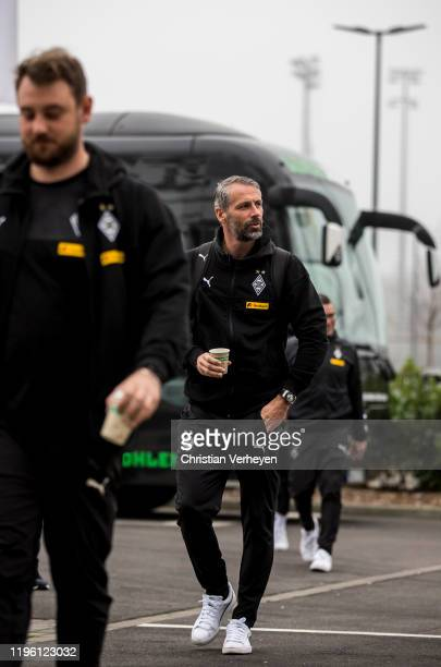 Head Coach Marco Rose of Borussia Moenchengladbach and Assistant Coach Rene Maric of Borussia Moenchengladbach are seen before the Bundesliga match...