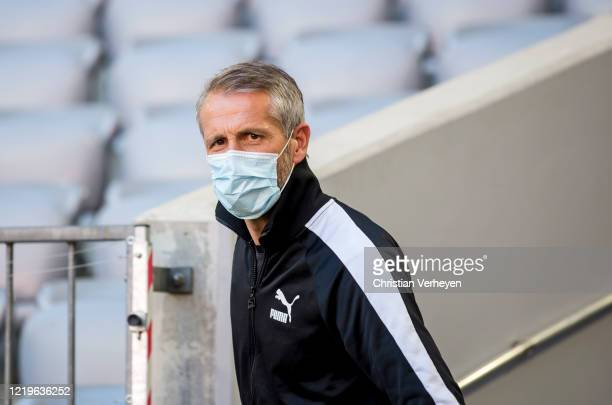 Head Coach Marco Rose of Borussia Moenchengladbach arrive at the stadium ahead the Bundesliga match between FC Bayern Muenchen and Borussia...