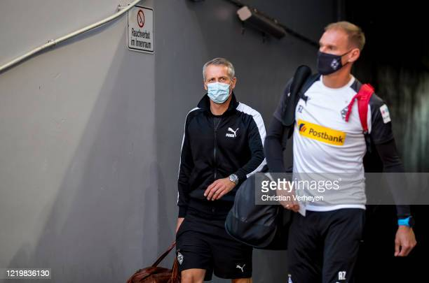 Head Coach Marco Rose of Borussia Moenchengladbach arrive at the stadium ahead the Bundesliga match between FC Bayern Muenchen and Borussia...