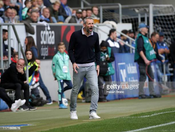 Head coach Marco Rose of Borussia Moenchengladbach gestures during the Bundesliga match between TSG 1899 Hoffenheim and Borussia Moenchengladbach at...