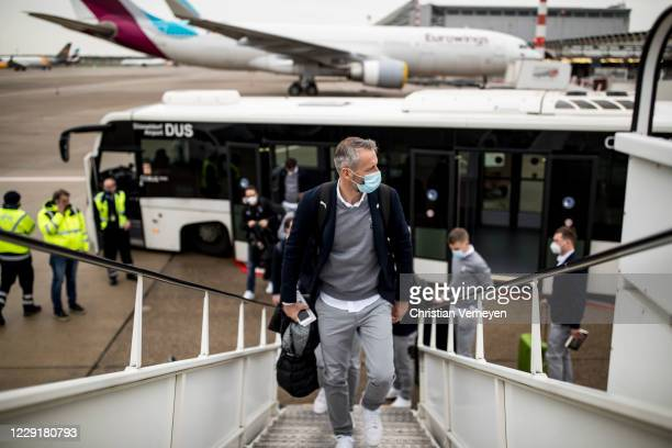 Head Coach Marco Rose of Borussia Moenchengladbach is seen during Borussia Moenchengladbach departs to the Group B UEFA Champions League match...
