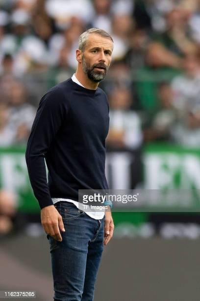 Head coach Marco Rose of Borussia Moenchengladbach looks on during the Bundesliga match between Borussia Moenchengladbach and FC Schalke 04 at...