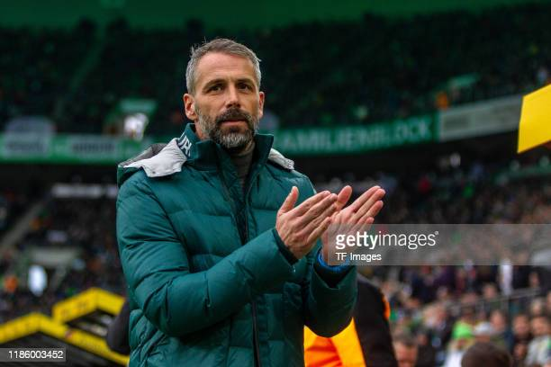 head coach Marco Rose of Borussia Moenchengladbach looks on during the Bundesliga match between Borussia Moenchengladbach and SportClub Freiburg at...