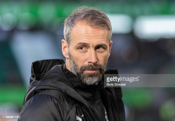 Head coach Marco Rose of Borussia Moenchengladbach looks on prior to the Bundesliga match between VfL Wolfsburg and Borussia Moenchengladbach at...