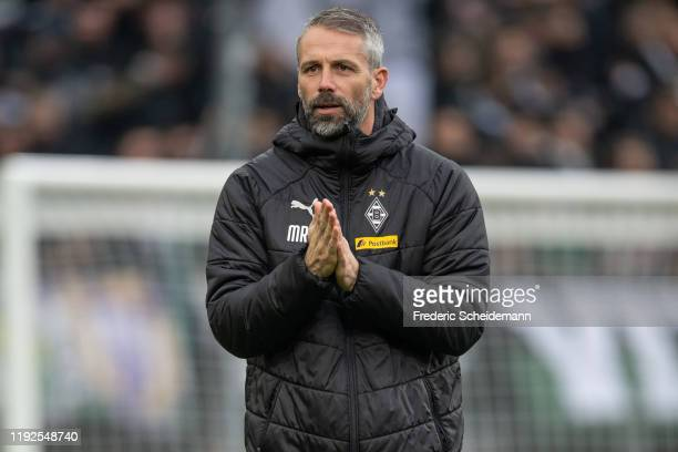 Head Coach Marco Rose of Borussia Moenchengladbach prior to the Bundesliga match between Borussia Moenchengladbach and FC Bayern Muenchen at...