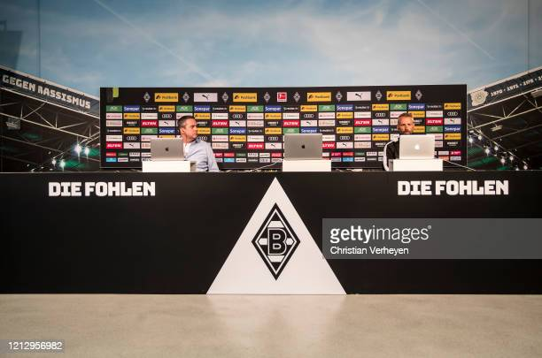 Head Coach Marco Rose of Borussia Moenchengladbach talks to the media during a virtual press conference of Borussia Moenchengladbach at Borussia-Park...