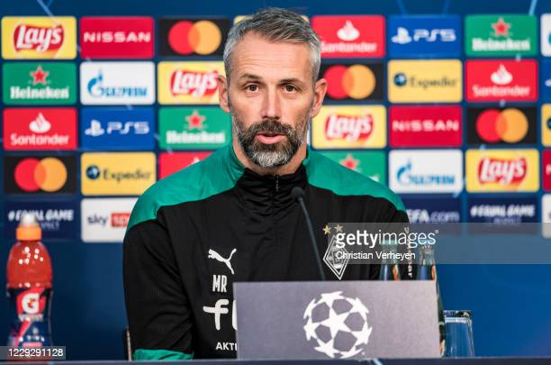 Head Coach Marco Rose of Borussia Moenchengladbach talks to the media during a UEFA Champions League press conference of Borussia Moenchengladbach at...