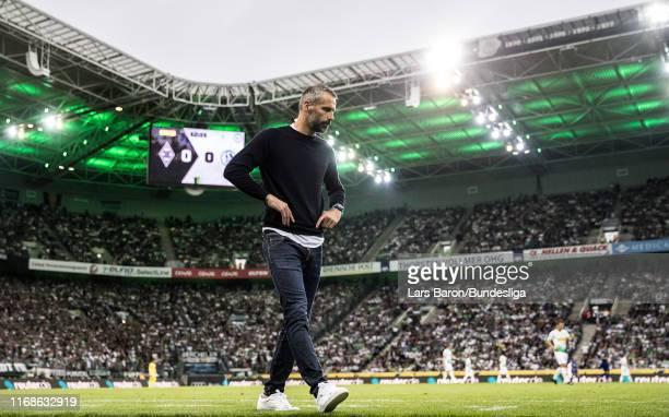 Head coach Marco Rose of Mönchengladbach is seen during the Bundesliga match between Borussia Mönchengladbach and FC Schalke 04 at Borussia-Park on...