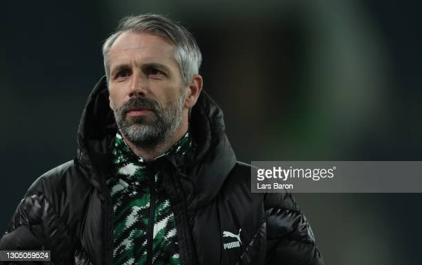 Head coach Marco Rose of Moenchengladbach is seen during the DFB Cup quarter final match between Borussia Mönchengladbach and Borussia Dortmund at...