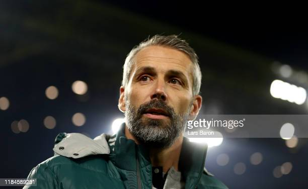 Head coach MArco Rose of Moenchengladbach looks on during the DFB Cup second round match between Borussia Dortmund and Borussia Moenchengladbach at...
