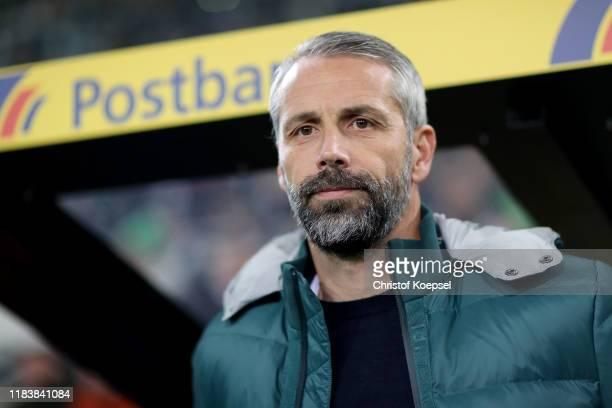 Head coach Marco Rose of Moenchengladbach looks on during the Bundesliga match between Borussia Moenchengladbach and Eintracht Frankfurt at...