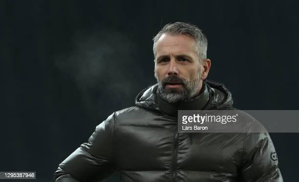 Head coach Marco Rose of Moenchengladbach looks on during the Bundesliga match between Borussia Moenchengladbach and FC Bayern Muenchen at...