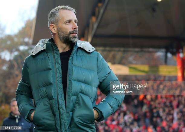 Head coach Marco Rose of Moenchengladbach looks on prior to the Bundesliga match between 1. FC Union Berlin and Borussia Moenchengladbach at Stadion...