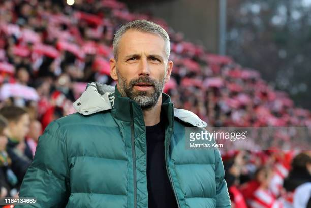 Head coach Marco Rose of Moenchengladbach looks on prior to the Bundesliga match between 1 FC Union Berlin and Borussia Moenchengladbach at Stadion...