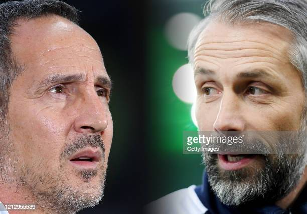 Head Coach Marco Rose of Moenchengladbach looks on prior to the Bundesliga match between Borussia Moenchengladbach and Borussia Dortmund at...