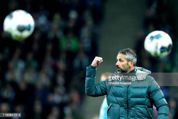 Head coach Marco Rose of Moenchengladbach reacts during the Bundesliga match between Borussia Moenchengladbach and Eintracht Frankfurt at...