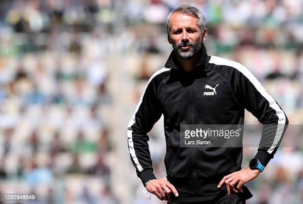 Head coach Marco Rose of Moenchengladbachis seen prior to the Bundesliga match between Borussia Moenchengladbach and Hertha BSC at Borussia-Park on...