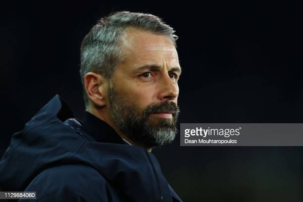Head Coach Marco Rose of RB Salzburg looks on during the UEFA Europa League Round of 32 First Leg match between Club Brugge and RB Salzburg at Jan...