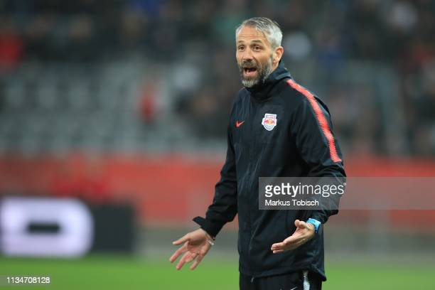 Head coach Marco Rose of RB Salzburg reacts during the UNIQA OeFB Cup Semifinal match between Grazer AK and Red Bull Salzburg at Merkur Arena on...