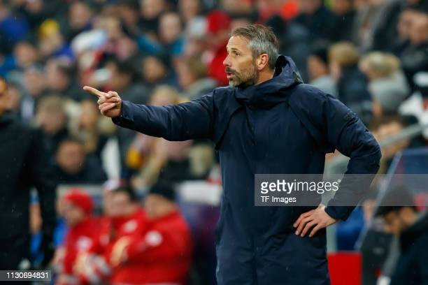 head coach Marco Rose of Red Bull Salzburg gestures during the UEFA Europa League Round of 16 Second Leg match between Red Bull Salzburg and SSC...