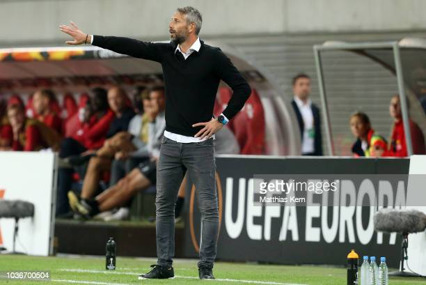 Head coach Marco Rose of Salzburg gestures during the UEFA Europa League Group B match between RB Leipzig and FC Salzburg at Red Bull Arena on...