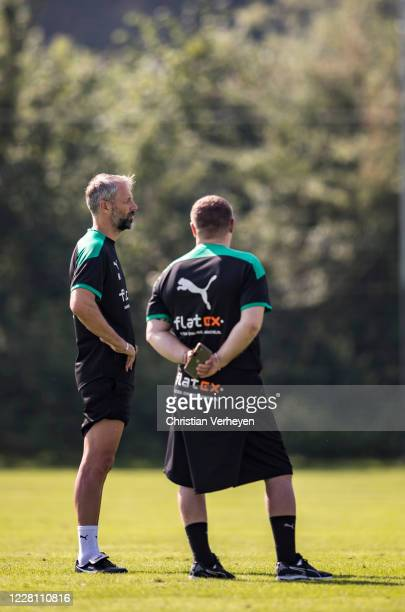 Head Coach Marco Rose talks to Director of Sport Max Eberl during the Training Camp of Borussia Moenchengladbach at Klosterpforte on August 19 2020...