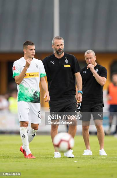 Head Coach Marco Rose talks to Laszlo Benes during the friendly match between Borussia Moenchengladbach and Istanbul Basaksehir FK on July 17, 2019...