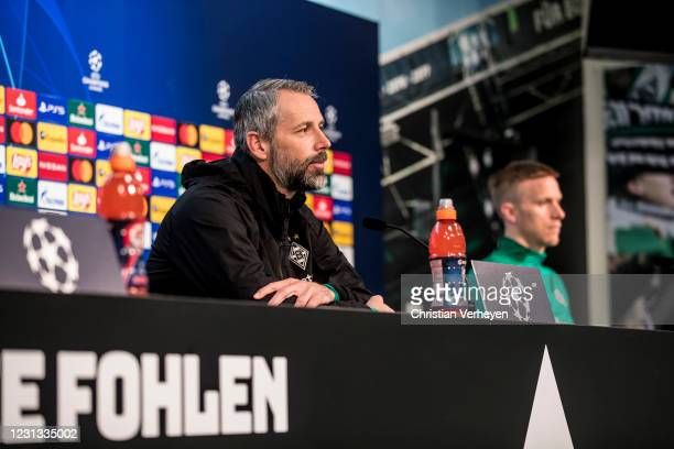 Head Coach Marco Rose talks to the media during a press conference of Borussia Moenchengladbach ahead the UEFA Champions League Round Of 16 Leg One...