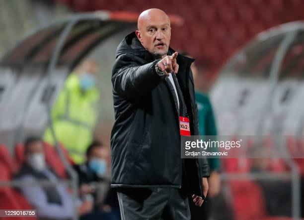 Head coach Marco Rossi of Hungary reacts during the UEFA Nations League group stage match between Serbia and Hungary at Rajko Mitic Stadium on...