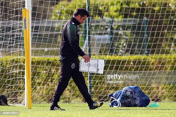 Head coach Marco Silva arrives for a Sporting Club de Portugal training session ahead of their UEFA Champions League Group G match against FC Schalke...