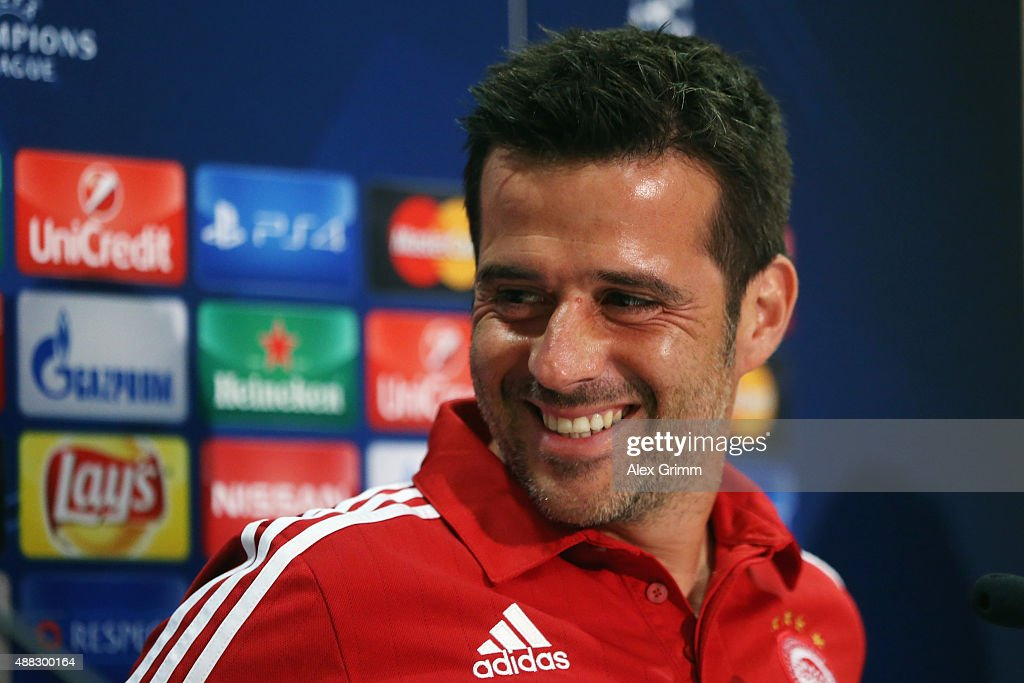 Head coach Marco Silva attends a Olympiacos FC press conference ahead of their UEFA Champions League Group F match against Bayern Muenchen at Karaiskakis Stadium on September 15, 2015 in Athens, Greece.