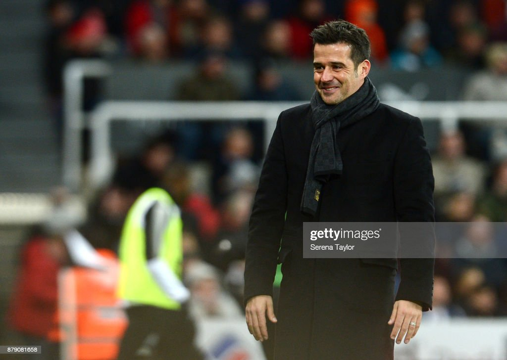 Head Coach Marco Silva celebrates as Watford score their third goal during the Premier League match between Newcastle United and Watford F.C. at tSt.James' Park on November 25, 2017, in Newcastle upon Tyne, England.