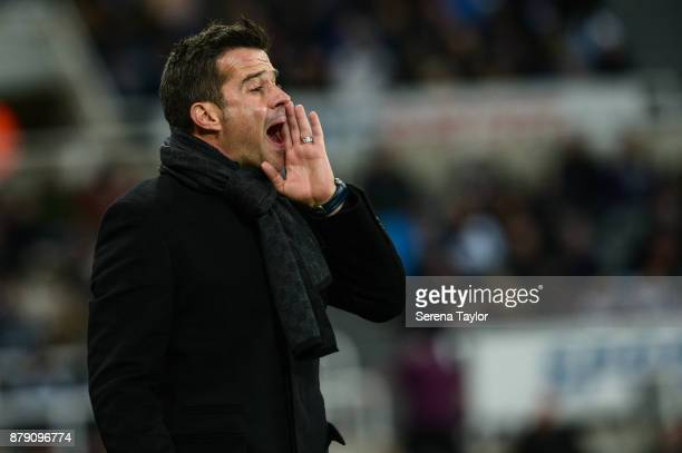 Head Coach Marco Silva gestures from the sidelines during the Premier League match between Newcastle United and Watford FC at StJames' Park on...
