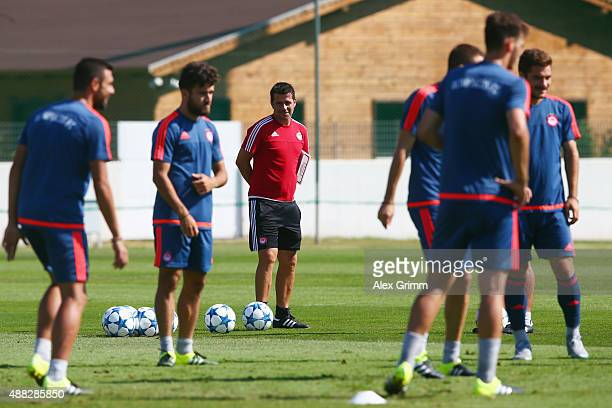 Head coach Marco Silva looks on during a Olympiacos FC training session ahead of their UEFA Champions League Group F match against Bayern Muenchen at...