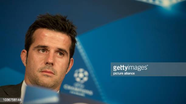 Head coach Marco Silva of Greek soccer team Olympiacos Piraeus soeaks during a press conference after the team's final training session at Alliance...