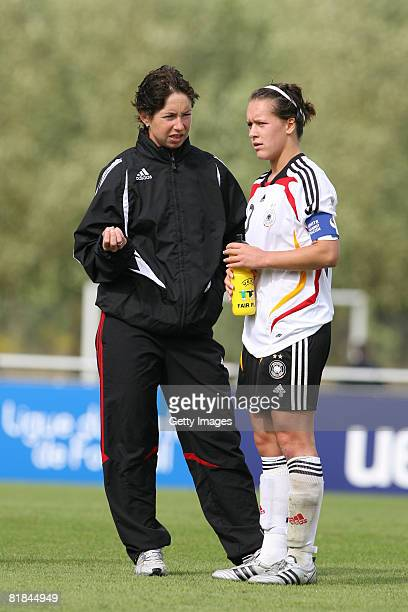 Head coach Maren Meinert and Francesca Weber are seen after the Women's U19 European Championship match between Germany and England at the Marcel...