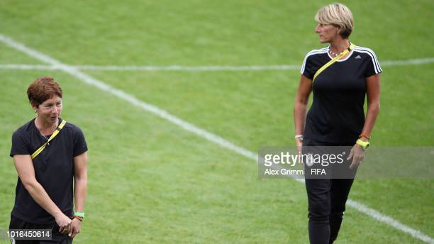 Head coach Maren Meinert and goalkeeper coach Silke Rottenberg during the FIFA U20 Women's World Cup France 2018 group D match between Germany and...