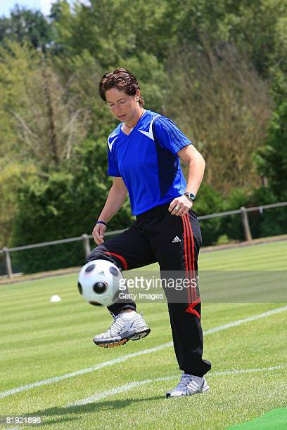 Head coach Maren Meinert of Germany during the Women's U19 European Championship match between Scotland and Germany at the Georges Boulogne/Ile d'Or...