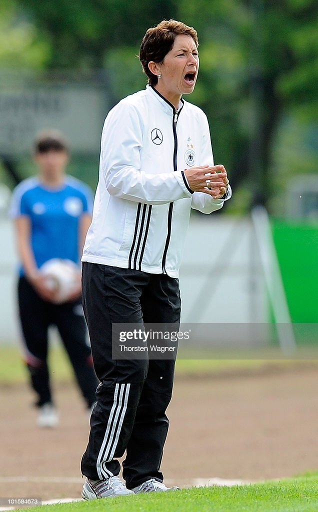 Head coach Maren Meinert of Germany gestures during the U20 international friendly match between Germany and South Korea at Waldstadion on June 2, 2010 in Giessen, Germany.