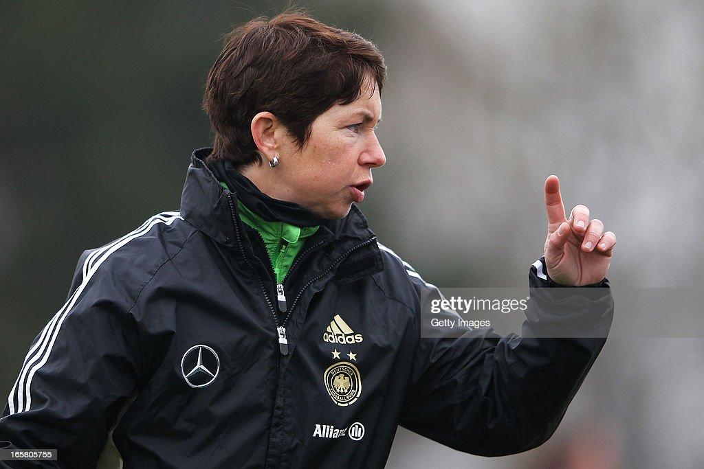 Head coach Maren Meinert of Germany gestures prior to the Women's UEFA U19 Euro Qualification match between U19 Germany and U19 Greece at Sportzentrum Sued on April 6, 2013 in Kirchheim, Germany.