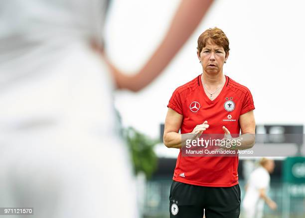 Head coach Maren Meinert of Germany gives instructions prior to the Four Nations Tournament match between U20 Haiti Women and U20 Germany Women at...