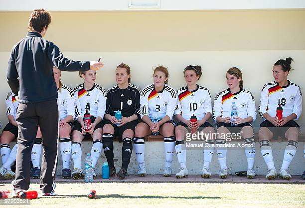 Head coach Maren Meinert of Germany gives instructions to his players during the women's international friendly match between Germany and Netherlands...