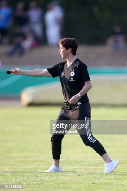 Head coach Maren Meinert of Germany issues instructions during the friendly match between Germany U20 Girl's and the Netherlands at...