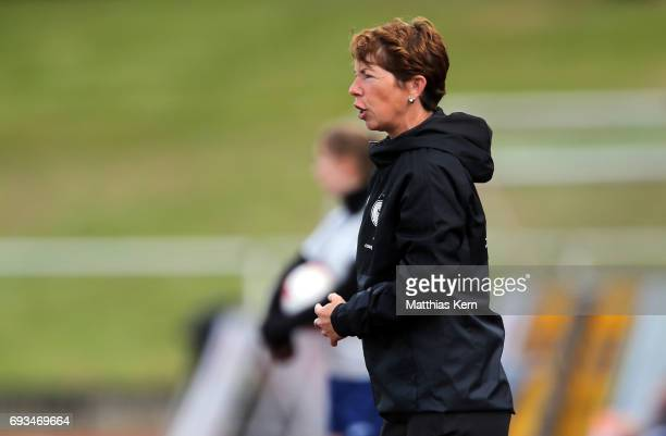 Head coach Maren Meinert of Germany looks on during the U19 women's elite round match between Germany and Iceland at Friedensstadion on June 7 2017...